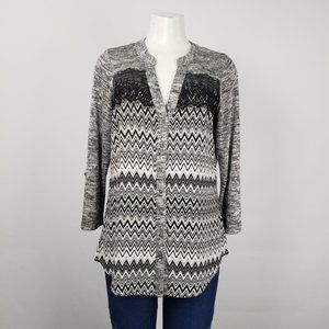 Warehouse One Black Zig Zag Lace Button Top Size M